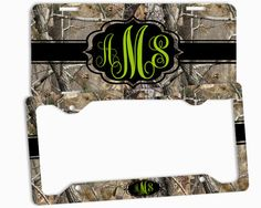 Green Apple Camo Black License Plate Frame Monogrammed Car Tag Personalized Custom