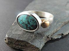 turquoise ring modern gem ring december birthstone by CrazyAssJD