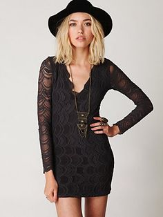 Deep V Long Sleeve Lace Dress. http://www.freepeople.com/whats-new/deep-v-long-sleeve-lace-bodycon/