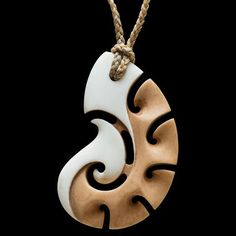 Stained Bone Matau Pendant by New Zealand Artist Kerry Thompson Bone Jewelry, Jewelry Art, Jewelry Design, Wood Carving Art, Bone Carving, Bone Crafts, Laser Cut Jewelry, Carving Designs, Wood Necklace