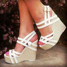 Cute white wedges..For wedding