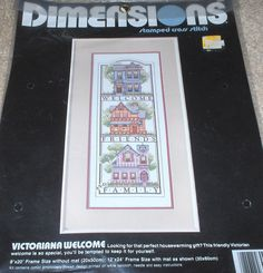 1989 Victorian Houses Welcome Friends & Family Stamped Cross Stitch Kit NIP 8x20  | eBay