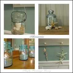 The idea to use mason jars as candle holders combined with some sand and sea shells is really cute.
