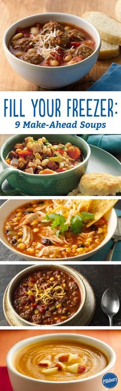 We ♥ freezer meals! Stock up on cozy soups + stews for budget-friendly dinners in a flash. Just defrost + reheat!