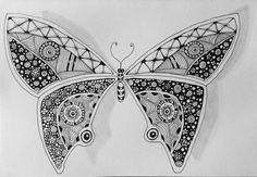 #zentangle #crescentmoon #shattuck #butterfly
