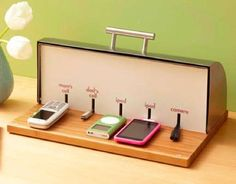 Super Home Charging Station Ideas Office Storage On A Dime Stations Bread Boxes And Cheap Home Office, Home Office Storage, Diy Electronics, Electronics Projects, Vieux Pianos, Grain Storage, Best Decor, Bread Boxes, Bread Bin