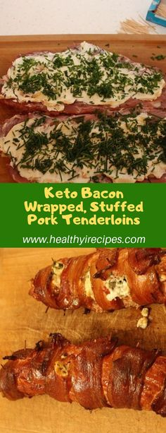 Pork tenderloins stuffed with roasted garlic, cream cheese and chives, wrapped in bacon and smoked on the grill Ingredients 1 bunch. Low Carb Meal Plan, Low Carb Dinner Recipes, Keto Dinner, Low Carb Keto, Lunch Recipes, Salad Recipes, Pork Recipes, Keto Recipes, Candida Recipes