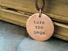 Turn the Page Necklace, Bob Seger Song,  Simple Copper Pendant Necklace, Quote Necklace on Etsy, $29.01 CAD
