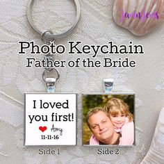 Items similar to Personalized Father of the Bride Gift Wedding Gift for Dad Gift from Bride custom Keychain for father of bride photos gifts for Men on Etsy Wedding Day Gifts, Bride Gifts, Personalized Gifts For Dad, Personalized Wedding, Father Of The Bride, Gifts For Father, I Loved You First, Perfect Gift For Dad, Square Photos