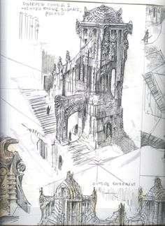 Skyrim architectural sketch-Wish I could sketch like this Disney Concept Art, Art Disney, Concept Art Landscape, Fantasy Landscape, Environment Sketch, Environment Design, Architecture Drawings, Concept Architecture, Steampunk