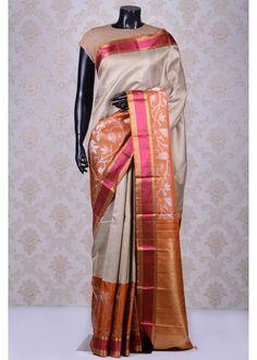 Light grey lovely kanchipuram silk saree with pink & gold border-SR11540