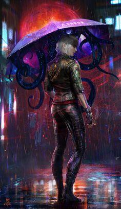 Walk in the Rain von MuYoung Kim: Cyberpunk Cyberpunk 2077, Cyberpunk City, Cyberpunk Kunst, Cyberpunk Aesthetic, Cyberpunk Tattoo, Cyberpunk Fashion, Ange Demon, Walking In The Rain, Futuristic Art