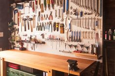 Garage workbench #goals. Holla' if your workbench, desk, or craft table is this organized!
