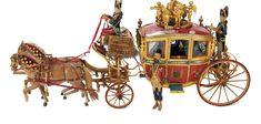 The Legendary Spielzeug Museum of Davos: 29 19th-Century Carved Wooden Exhibition Royal Coach with Horse and Personages