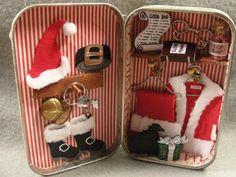 Christmas Holiday Santa's Closet North Pole Decoration Shadow Box Tin