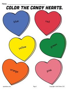 FREE Printable Candy Hearts Valentines Day Coloring Page
