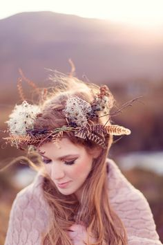 Wild flower crown with feathers and bracken | Love My Dress® UK Wedding Blog  http://www.craigsandersphotography.co.uk