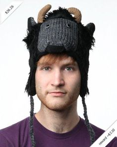 DeLux Buffalo Black and Grey Wool Pilot Animal Cap/Hat - Limited Edition
