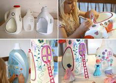 Que tal montar uma casinha de bonecas caprichada feita de garrafas plásticas de produtos de limpeza? Veja que legal! - Veja mais em: http://vilamulher.com.br/artesanato/tendencias/casinha-de-bonecas-feitas-com-garrafas-plasticas-m1214-694041.html?pinterest-mat