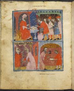 This miniature depicts the preparation for Passover. In the upper register, a man distributes unleavened bread (matzot). In the lower register, two women clean. Passover Traditions, Medieval, Jewish Temple, Jewish Festivals, History Education, Art History, History Encyclopedia, Hebrew Bible, Library Catalog