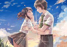 Your Name- Mitsuha and Taki Kimi No Na Wa, Anime Love Couple, Cute Anime Couples, Mitsuha And Taki, Your Name Anime, Ghibli Movies, Ghost In The Shell, Animation Film, Manga Girl
