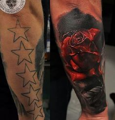 3D Rose cover up tattoo - Hiding these 5 stars aren't really that hard; thanks to the very simple design. Darker colors and shadows could very easily conceal it and that's exactly what the artist did. But the design of the new tattoo is far from simple and boring.