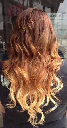 Red to Blonde Ombre Hair #ombre #longhair #waves