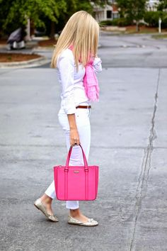 all white and pink