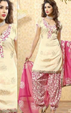 Picture of Amazing Cream  Color Embroidered Patiala Suit