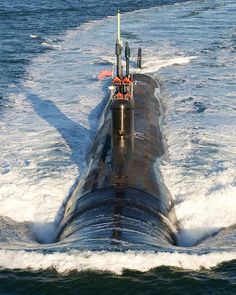 The submarine USS Mississippi conducts sea trials.
