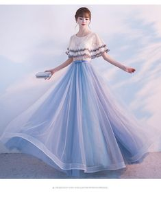 Chic / Beautiful Homecoming Graduation Dresses 2017 Champagne Sky Blue A-Line / Princess Floor-Length / Long Cascading Ruffles Scoop Neck Sleeves Lace Appliques Flower Tassel Bow Sash Formal Dresses Prom Girl Dresses, Pretty Prom Dresses, Indian Gowns Dresses, Ball Dresses, Elegant Dresses, Cute Dresses, Beautiful Dresses, Evening Dresses, Formal Dresses