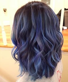 Cutest Medium Wavy Hairstyles with Blue Balayage Color 2016