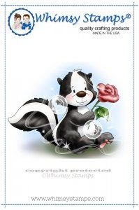 Whimsy Stamps Skunk with Rose - bjl