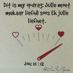 """Teks - Joh """"Dit is my opdrag: Julle moet mekaar lief he soos ek julle lief het"""" Favorite Quotes, Best Quotes, Afrikaanse Quotes, Qoutes About Love, Biblical Inspiration, Faith In Love, Bible Truth, Powerful Words, Good Morning Quotes"""