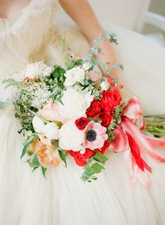 Pops of red: http://www.stylemepretty.com/2014/02/17/romantic-red-wedding-inspiration/   Photography: KT Merry - http://www.ktmerry.com/