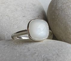Cabochon Moonstone Ring Rainbow Moonstone Ring Black by Belesas