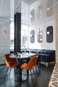 Hotel Panache Restaurant Le Panache Velvet Banquette Paris Design Hotel Dorothée Meilichzon: herringbone dark wood #restaurantdesign