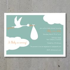 Look what the stork brought stork baby showers shower invitations flying stork baby shower invitation by dotandlinedesign on etsy 1800 filmwisefo