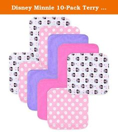 Disney Minnie 10-Pack Terry Washcloth. Add some fun to bath time with this Disney Minnie 10-Pack of Terry Washcloths. Five different designs and colors feature the famed lady mouse, bright colors, and (of course) polka dots. The soft terry cloth will be gentle on your baby's skin. Product Features: 2 deep pink cloths .