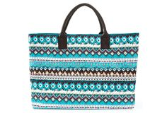 "One Kings Lane - Get Me to the Beach - Structured Market Tote, Aqua Chloe 21"" x 14"" x 8"" $59"