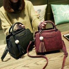 New women handbags simple fashion flap trend tassel woman messenger bag Korean version shoulder bag Crossbody Shoulder Bag, Leather Shoulder Bag, Leather Bag, Crossbody Bags, Cute Handbags, Purses And Handbags, Fashion Handbags, Fashion Bags, Style Fashion