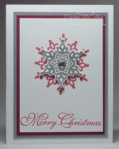 A clean and simple Christmas card made with the Festive Flurry stamp set and framelits bundle in silver and Strawberry Slush.