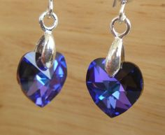 "heliotrope  .925 sterling silver French hook earrings with Swarovski 10mm heart shaped drops that hang 1.25"" SALE $20  Fall Sale 20% off all items and Free shipping in US at:  GemsAndCrystalsEtc.ArtFire.com"