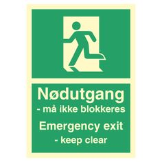 Nødutgang må ikke blokeres - Kjøp Nødutgang skilt Letter, Calm, Signs, Shop Signs, Letters, Sign, Writing