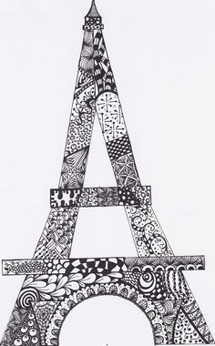 Zentangle Eiffel Tower Drawing Original Abstract PDF File for you to print, frame, color.. USE your imagination