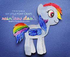 Printable My Little Pony Craft (Rainbow Dash) from LearnCreateLove.com