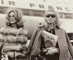 Françoise Dorléac and Catherine Deneuve via Allegra Catherine Deneuve, Jeanne Moreau, French Icons, Funny Commercials, Street Style, Timeless Beauty, Fashion Stylist, Travel Style, Style Icons