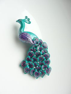 Polymer+clay | Polymer clay peacock brooch pin in turquoise, purple and pink handmade