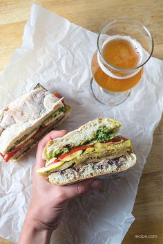 Mediterranean Pressed Picnic Sandwich - 8/29/15 Very rich with oil and garlic. Very distinct taste, go easy on the olive tapenade. I loved it but Jay was less impressed.  Highly recommend a loaf vs individual rolls. Too much for one roll, easier to slice.