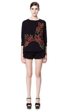 JUMPER WITH CROSS-STITCH FLOWERS - Knitwear - Woman - ZARA United States